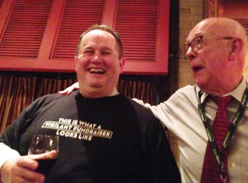 George Stanois and Jim Hilborn are all smiles at the launch of The Vigilant Fundraiser